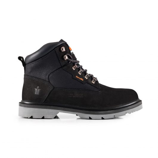 Side view of the Black nubuck leather Scruffs twister safety boot with orange Scruffs text logo on the side