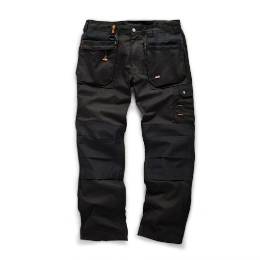 Black cotton Scruffs worker plus trousers with contrasting knee pad inserts, tuck away holster pockets and a cargo pocket