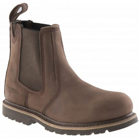 Chocolate oil leather Buckler B1150SM safety dealer boot with elasticated ankle gusset and Buckler branded pull-on tab at heel