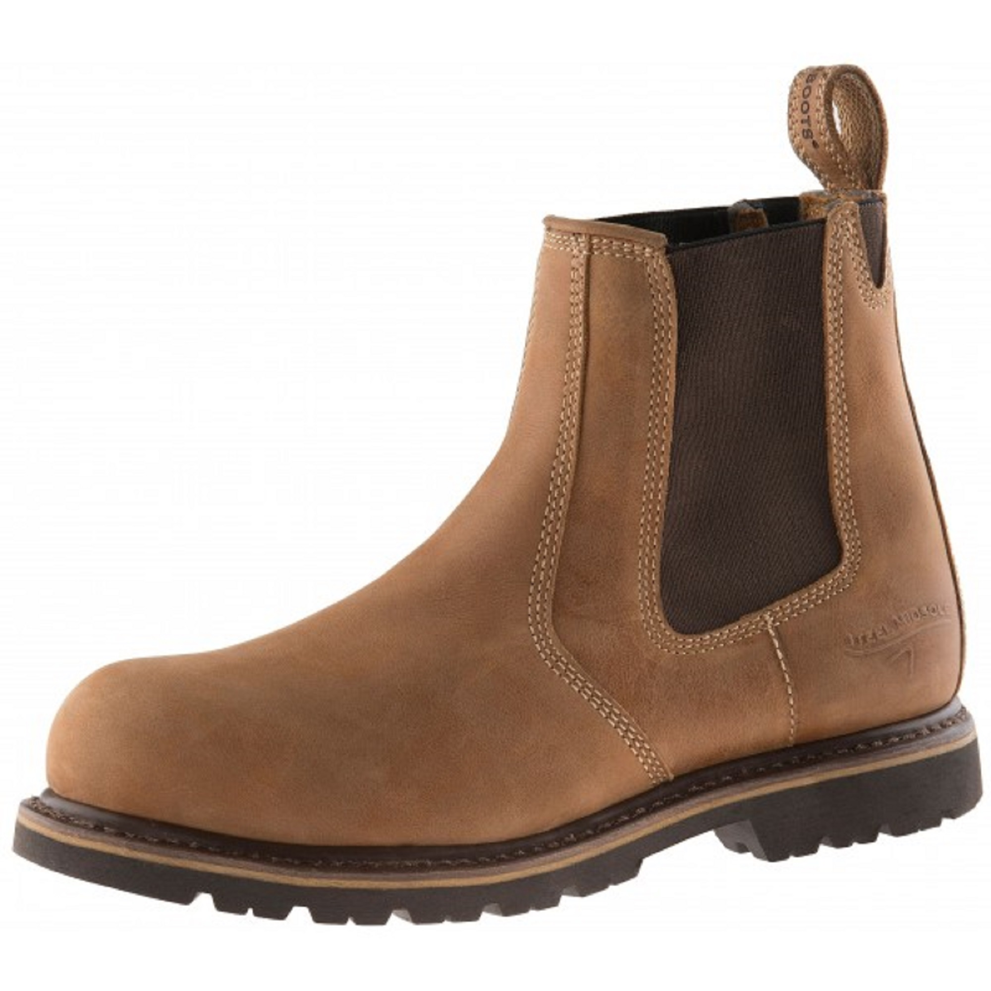 Autumn Oak leather Buckler B1151SM safety dealer boot with elasticated ankle gusset and Buckler branded pull-on tab at heel