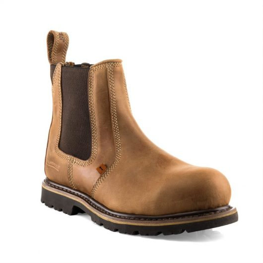 Shows Buckelr B1151sm safety dealer boot in honey/tan with elasticated side panels