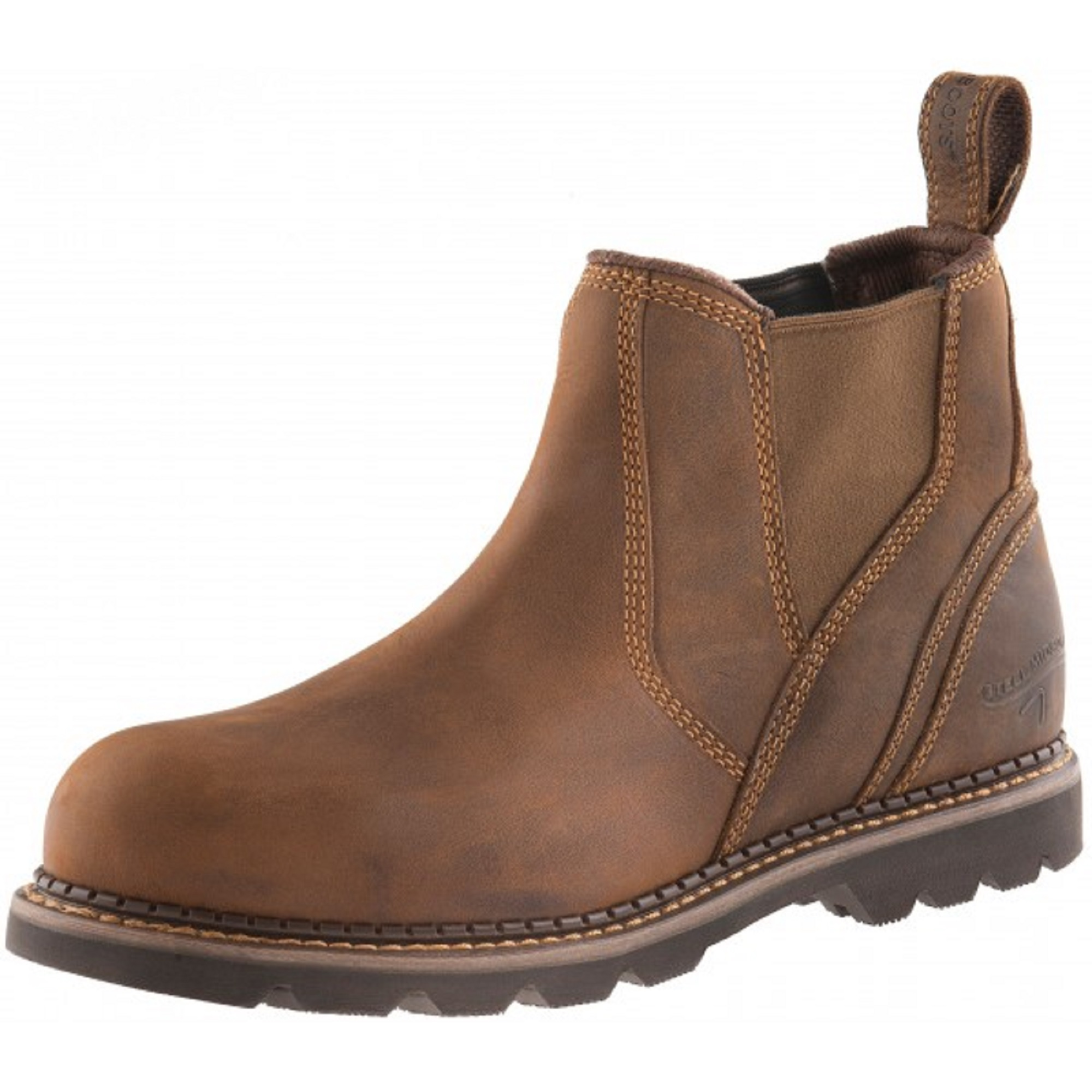 Waxed brown leather Buckler B1555SM safety dealer boot with Buckler branded pull-on tab at the heel and elastic ankle gusset
