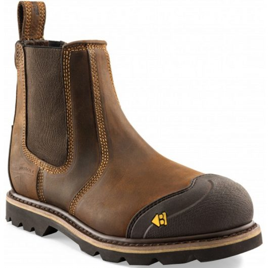 Dark brown leather Buckler B1990SM safety dealer boot with contrasting tan stitching and yellow Buckler logo on toecap