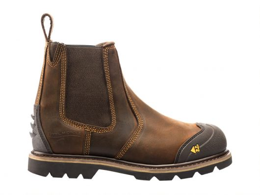 shows side profile of Buckler B1990sm safety dealer boot with front and back scuff guard and leather pull tab