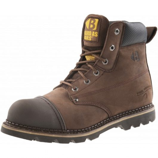 Brown oiled leather Buckler B301SM lace safety boot with yellow Buckler logo on the tongue and Buckler branding on the heel