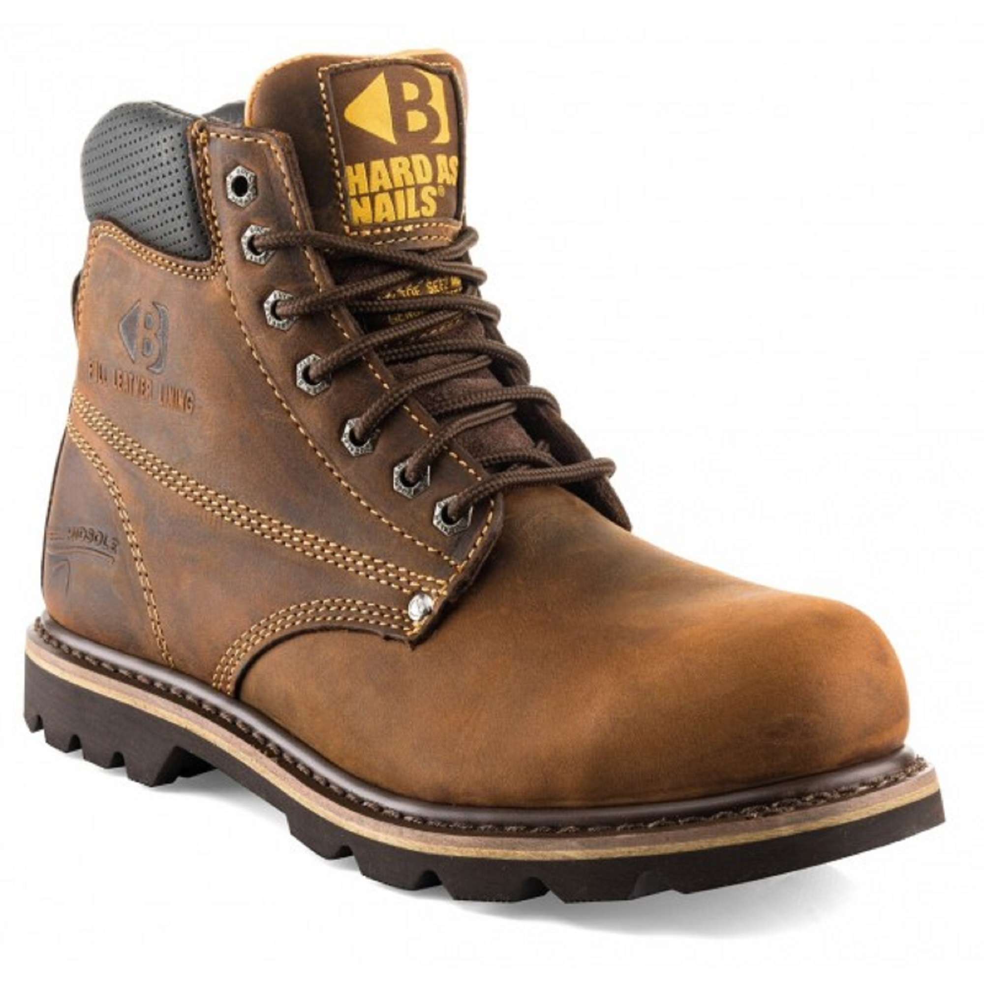 Dark brown leather Buckler B425SM lace up safety boot with yellow Buckler logo on the tongue and contrasting tan stitching