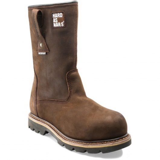 Brown leather Buckler B601SMWP safety rigger boot with Buckler 'Hard as Nails' slogan at top and pull-on tabs on the sides