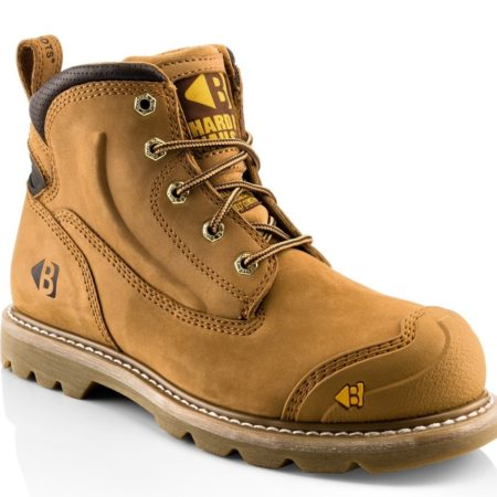 Buckler B650SM lace safety boot in tan nubuck leather with yellow Buckler branding on toe and tongue of boot