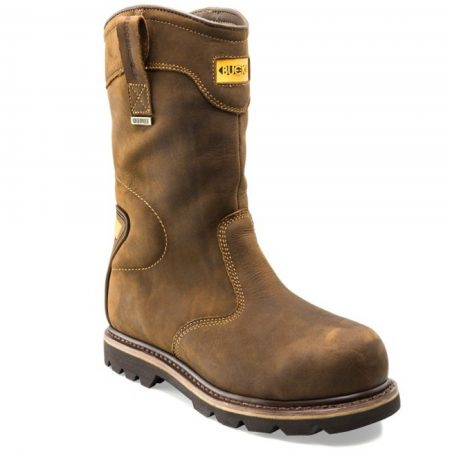 Brown leather B701SMWP safety rigger boot with yellow Buckler logo at the top in the centre and pull-on tabs on the sides