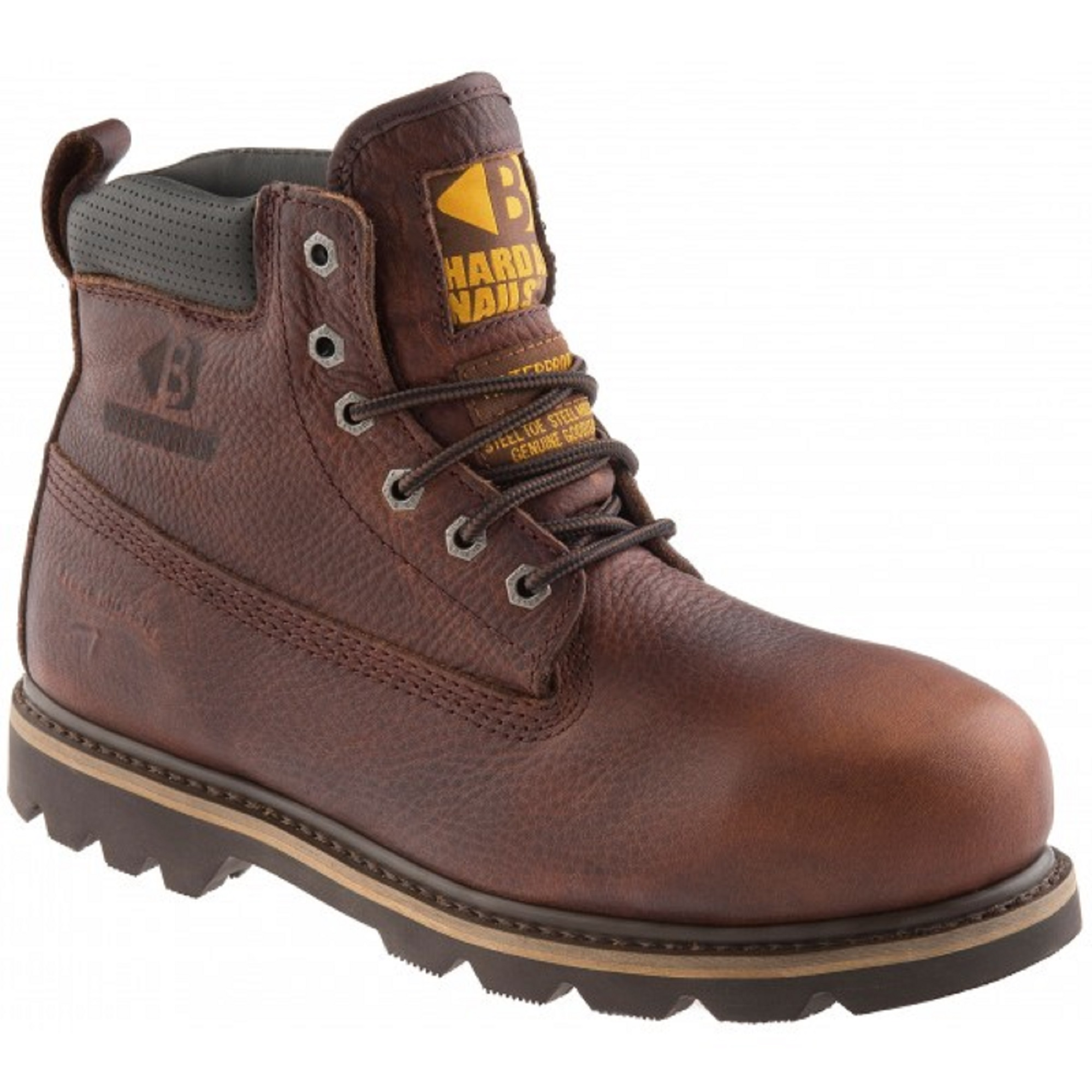 Dark brown weathergrain leather Buckler B750SMWP lace up safety boot with yellow Buckler logo on the tongue