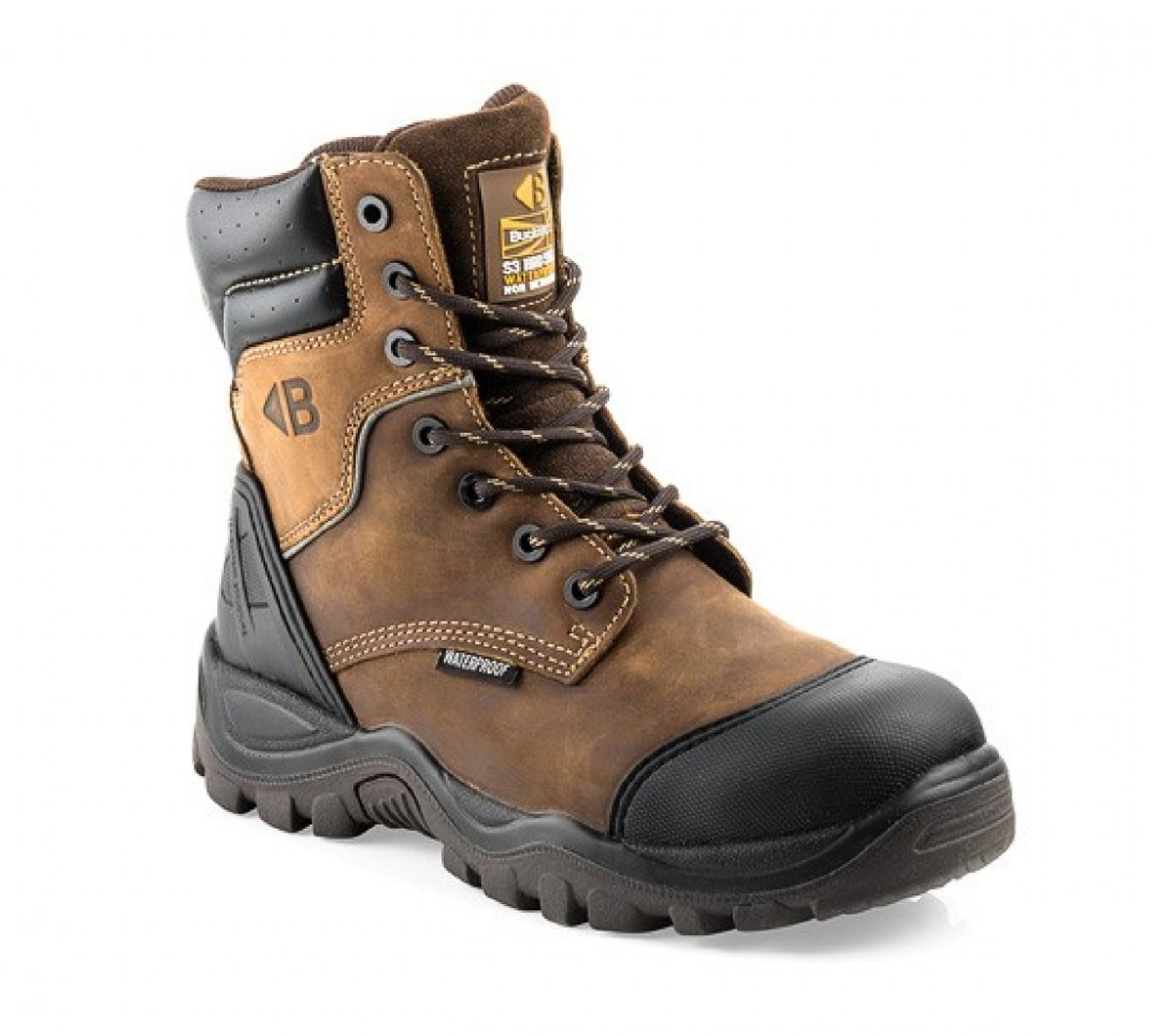 Dark brown leather Buckler BSH008WPNM zip/lace safety boot with Buckler logo on tongue and contrasting tan stitching