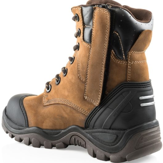 Back/side view of the Buckler BSH008WPNM safety boot showing zip closure covered by velcro tab and rubber heel protection