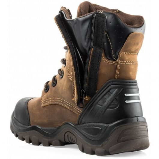 Back/side view of the Buckler BSH008WPNM safety boot showing zip and velcro tab undone and fabric gusset