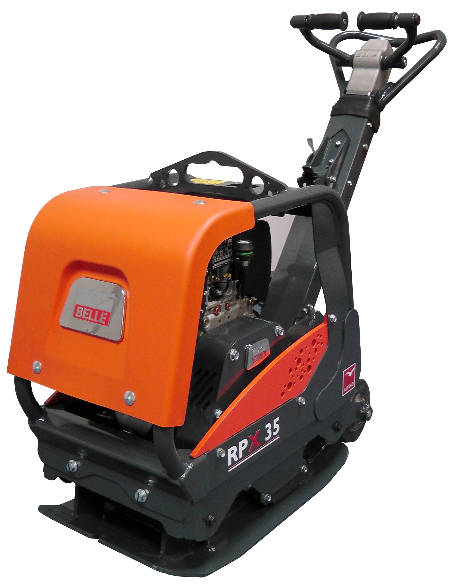 Belle RPX 35 reversible plate compactor with orange casing and metal Belle logo on the front