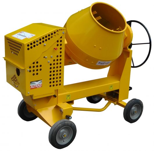 Yellow Belle Commodore 5-3 Yanmar L48 Diesel site mixer with 4 black wheels and a black wheel to change mixer drum angle