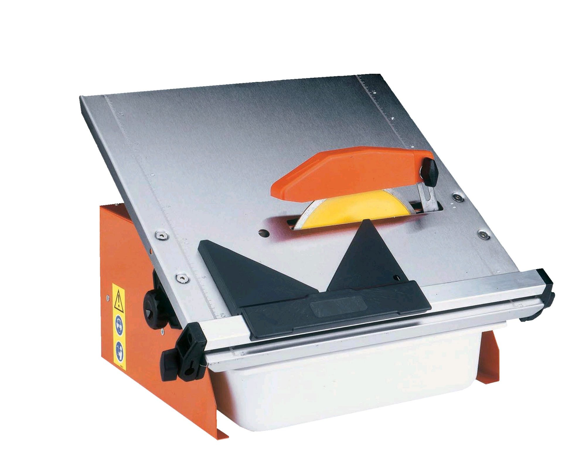 Belle magiktile 180 with orange metal casing, yellow circular blade, orange blade protector and silver metal cutting table