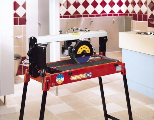 Belle maxitile 260 tile saw in a bathroom background