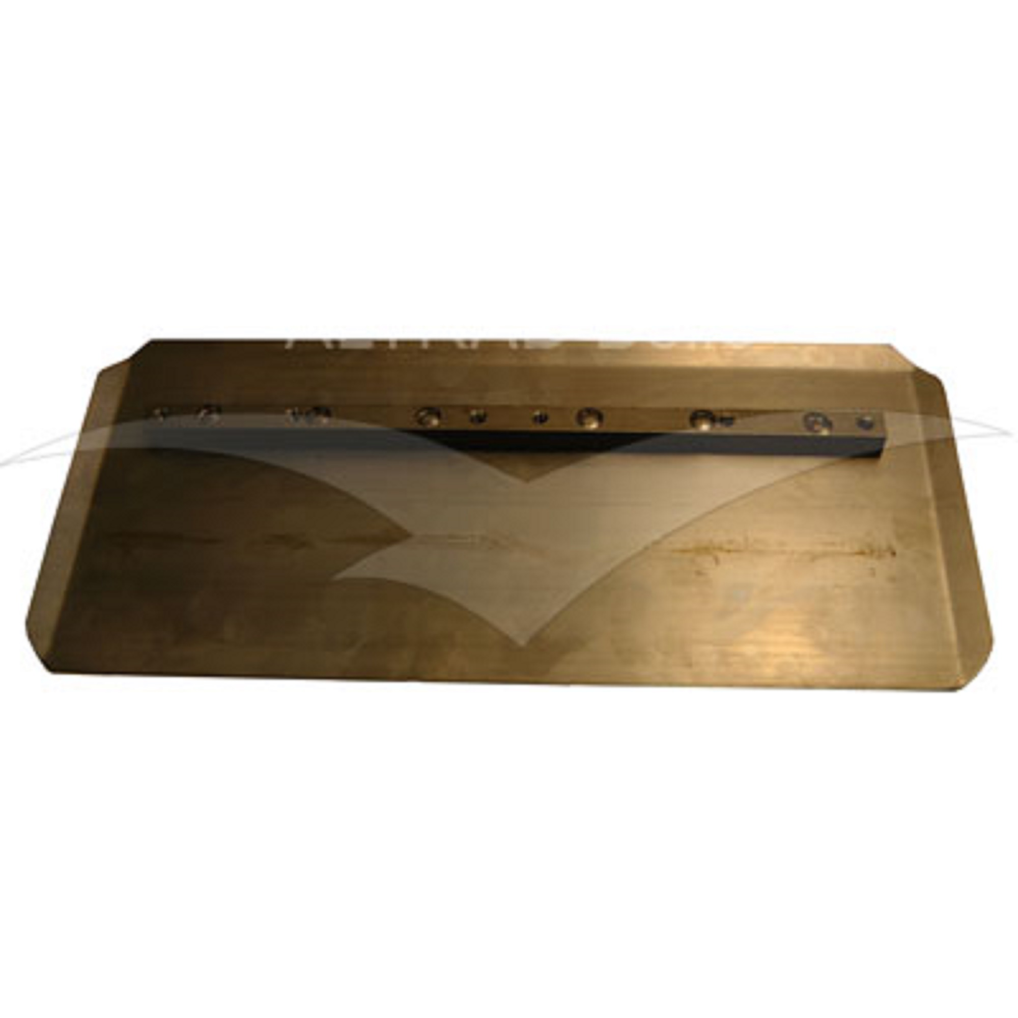 Bronze coloured rectangular metal combination blade for the Belle PRO 1200 trowel