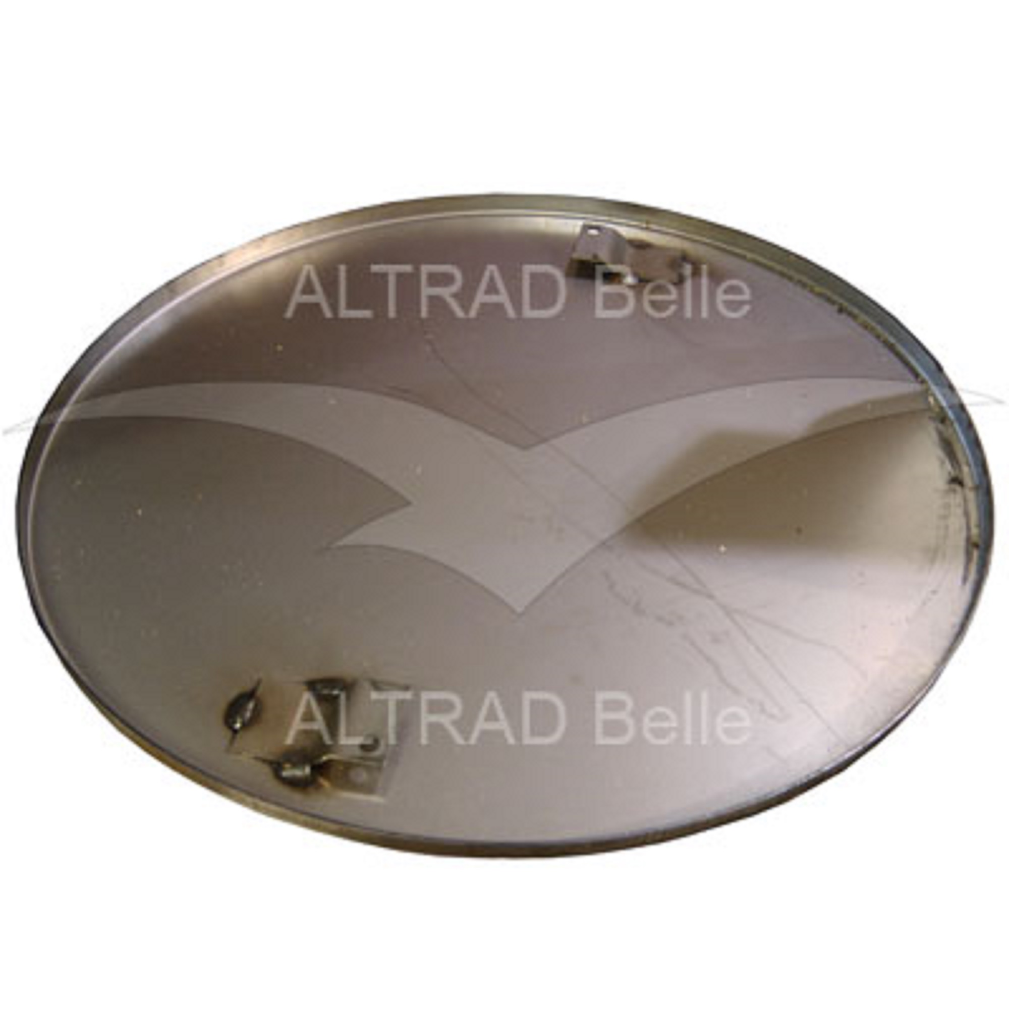 Silver circular metal float pan for the Belle PRO 600X trowel