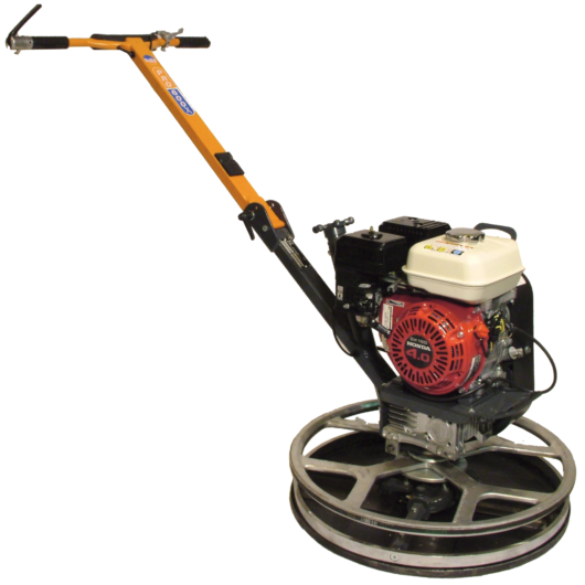 Belle PRO 600X edging trowel with long orange metal handle, red Honda engine and large circular metal trowel base