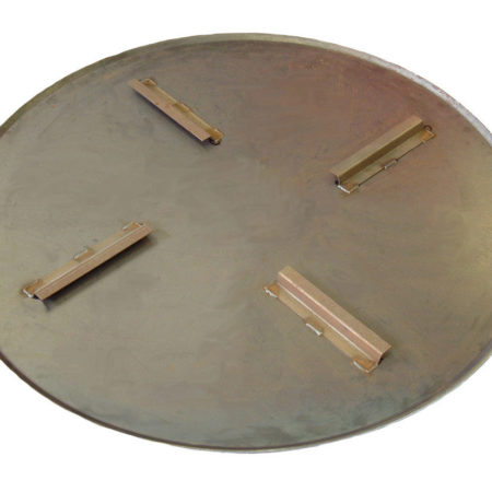 Silver circular metal float pan for the Belle PRO 900 trowel