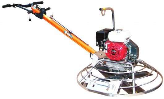 Belle pro tilt 900 trowel with long orange handle with Belle branding, red Honda engine and circular metal blade guard