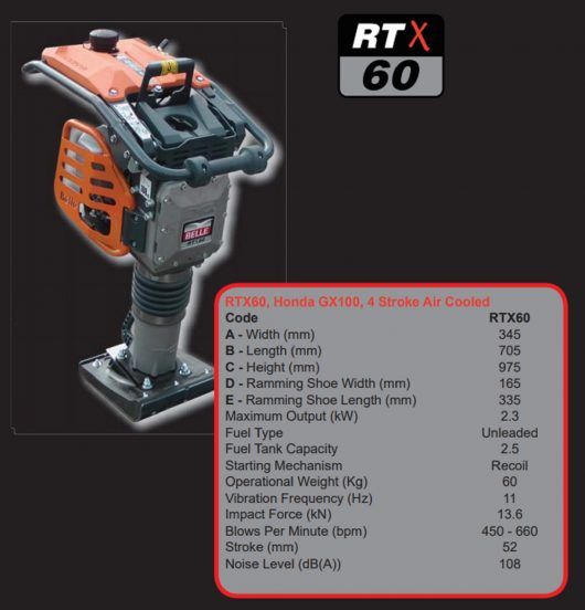 Belle RTX 60 trench rammer details in red box next to image of the RTX 60 trench rammer