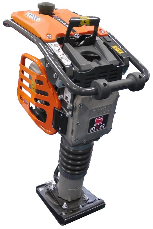 Belle RTX 60 trench rammer with orange Belle branded casing around engine and handles and small square metal foot
