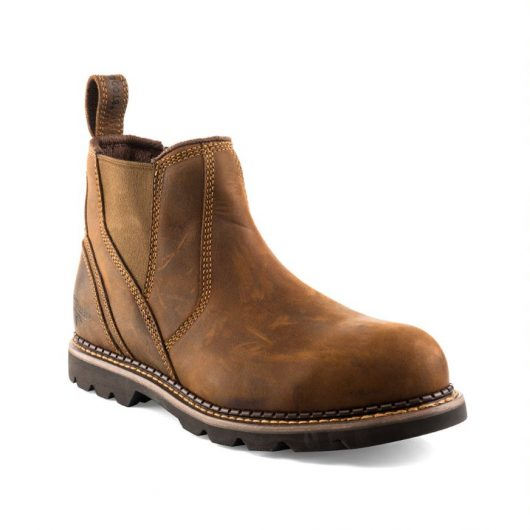 Shows Buckler B1555sm safety dealer boot in brown with stitched detailing around the heel of the boot