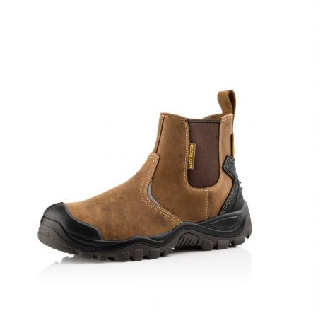 Shows Buckler BSH006BR safety boot with elasticated side panels and leather pullie tab