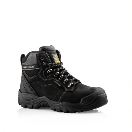 This image shows Buckler 009 safety boots in black with scuff guard and padded collar