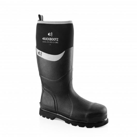 Knee high Buckler BBZ6000 Safety wellington in black with neoprene around calf area featuring white Buckler logo