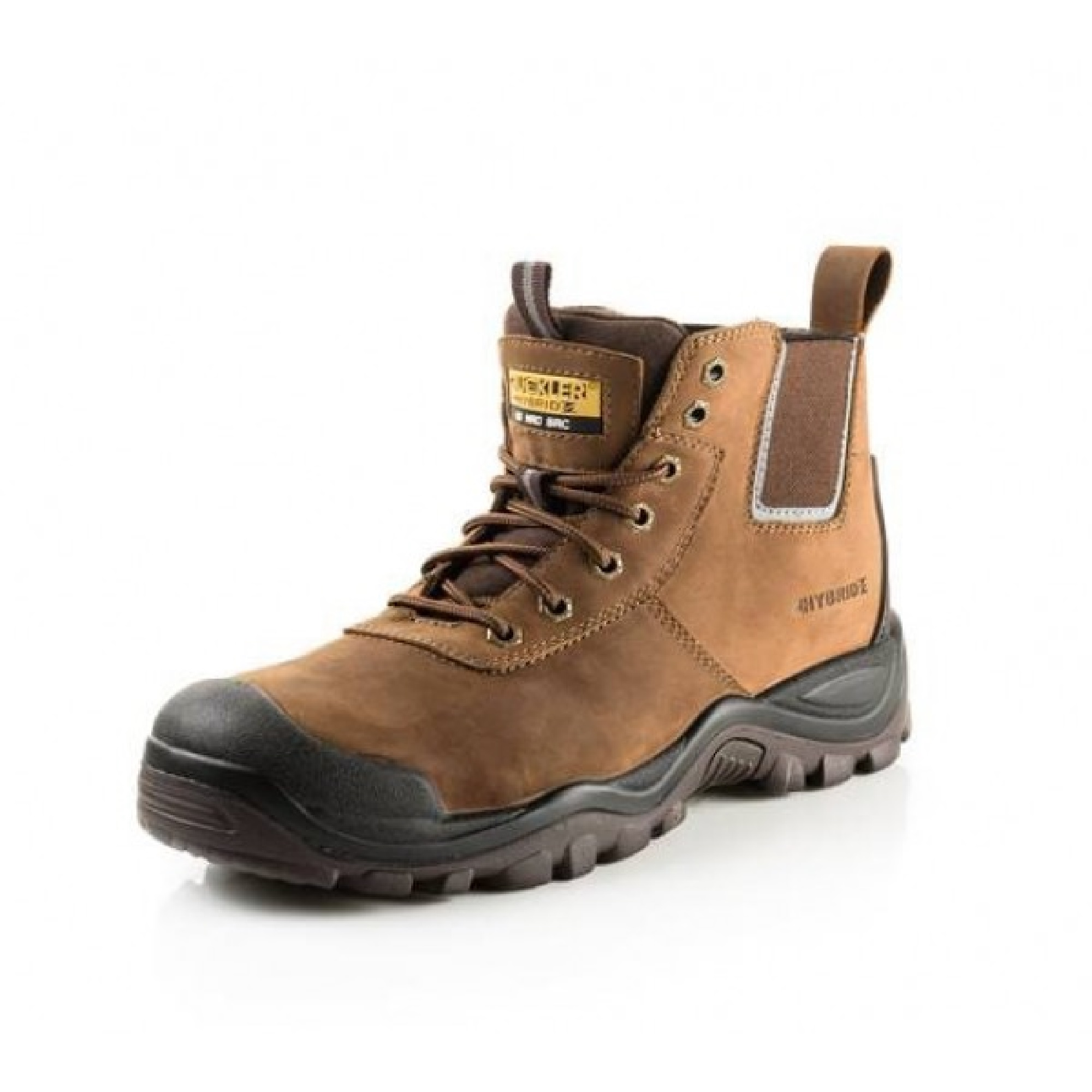 Brown nubuck leather Buckler BHYB2 lace safety boot with yellow 'Buckler Hybridz' logo on tongue and Hybridz branding on side