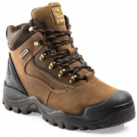 Dark brown leather lace up Buckler BSH002 safety boot with yellow Buckler logo on the tongue and waterproof label on the side