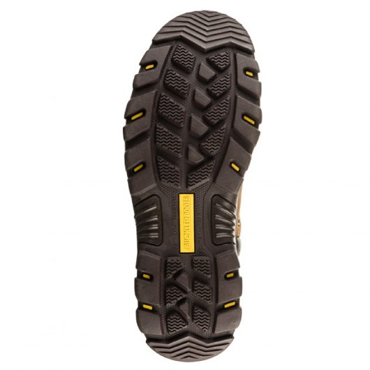 Bottom view of the Buckler BSH002BR safety boot sole with yellow Buckler boots logo in the centre of the sole