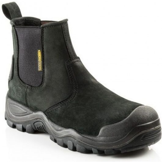 Black leather Buckler BSH006BK safety dealer boot with Buckler branding on side heel and Buckler logo on stretch gusset