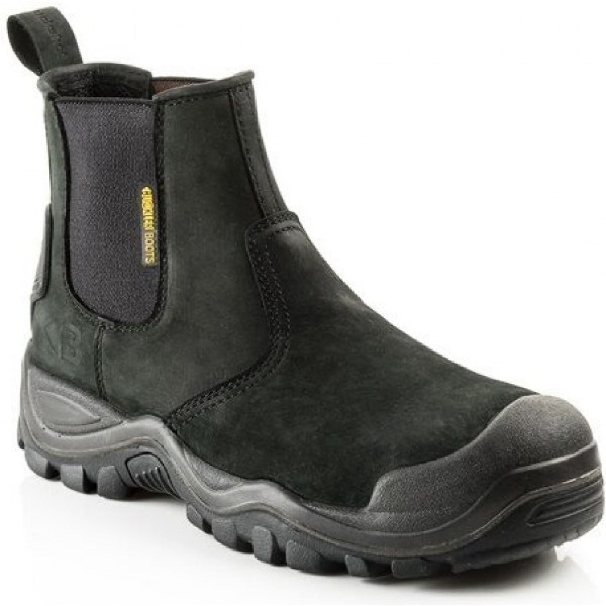 Black leather Buckler BSH006BK safety dealer boot with Buckler branding on side heel and Buckler logo on stretch gusset