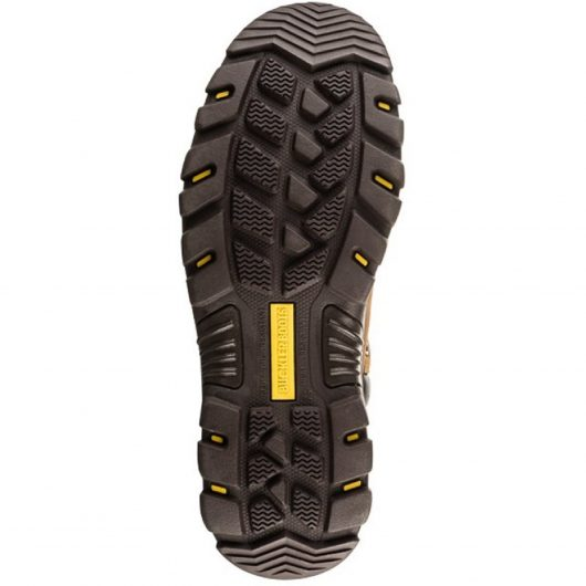 Bottom view of the Buckler BSH006BR safety boot sole with yellow Buckler boots logo in the centre of the sole
