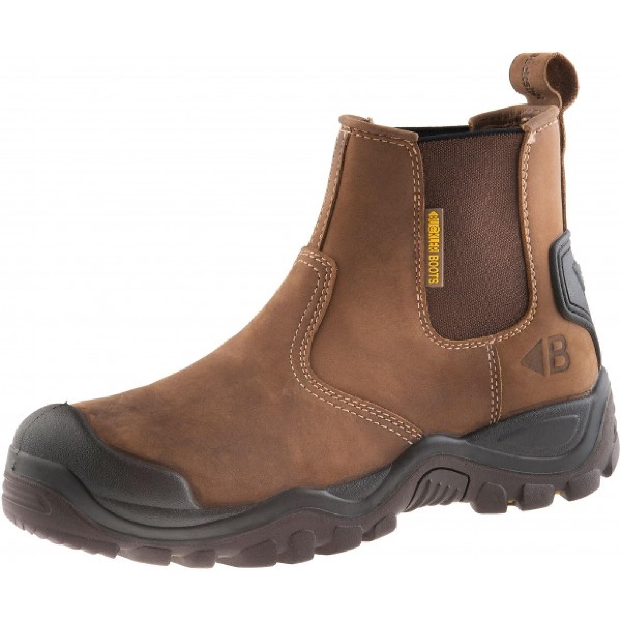 Dark brown leather Buckler BSH006BR safety dealer boot with Buckler branding on side heel and Buckler logo on stretch gusset