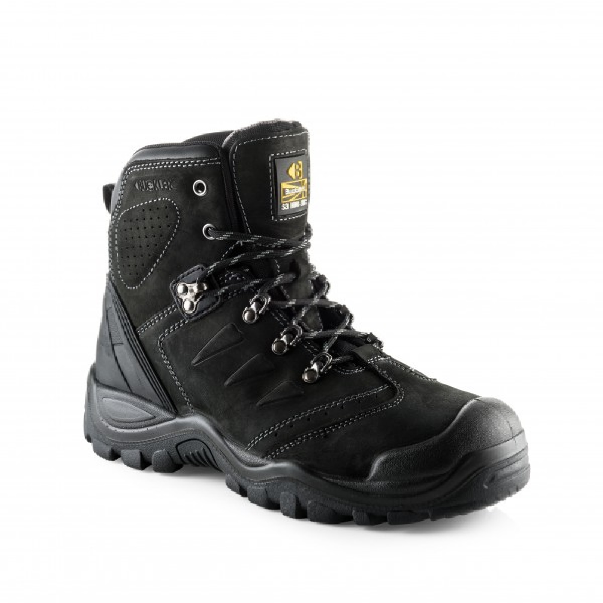 Black leather lace up BSH007BK safety boot with Buckler logo on the tongue and contrasting grey stitching