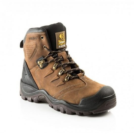 Dark brown leather lace up BSH007BR safety boot with Buckler logo on the tongue and contrasting light brown stitching
