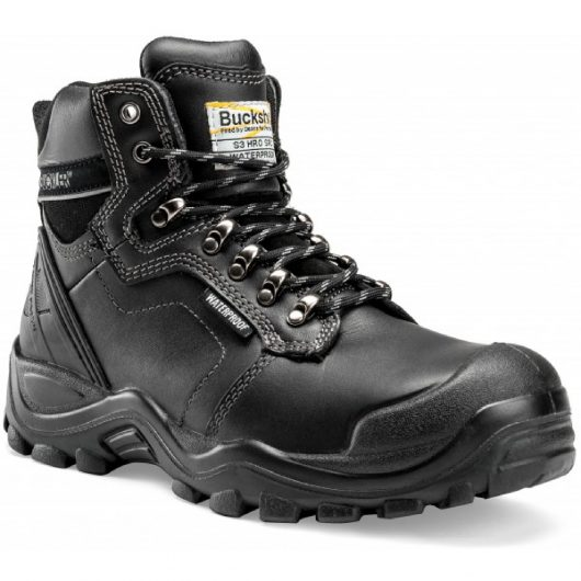 Leather lace up Buckler BSH009 safety boot in black with contrasting grey stitching and Buckler Buckshot logo on the tongue