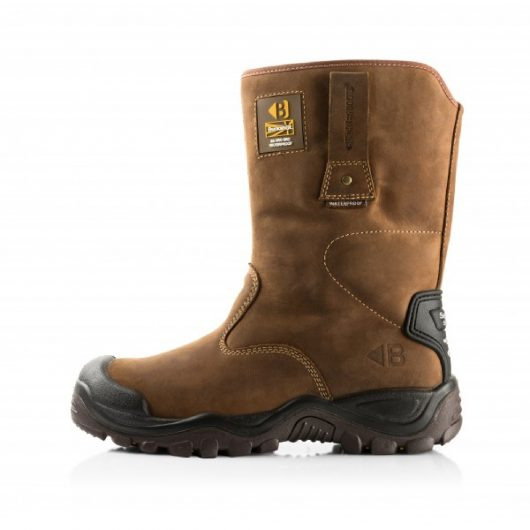 Side view of the brown leather Buckler BSH010BR safety rigger boots with Buckler branding on heel