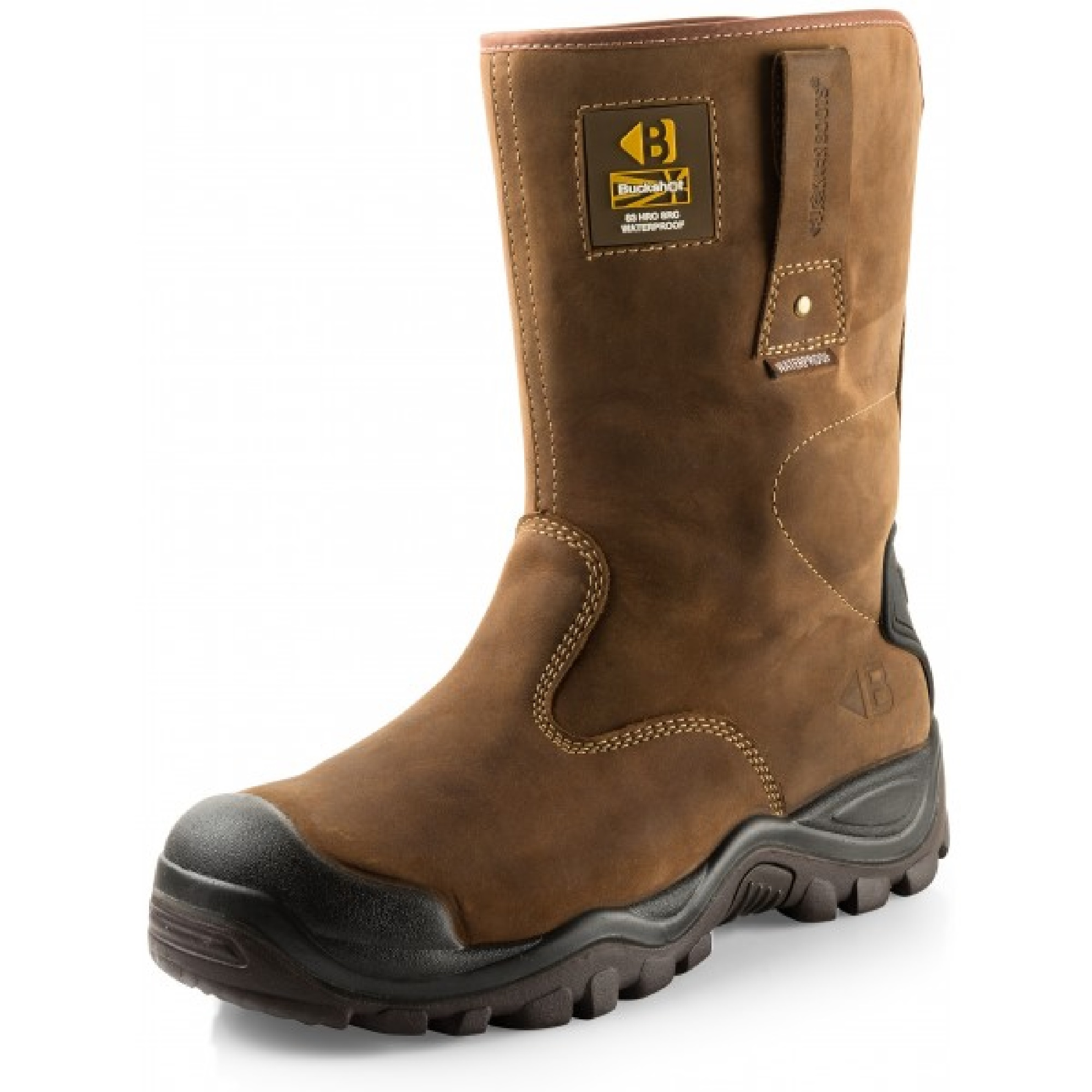 Brown leather Buckler BSH010BR safety rigger boots with Buckler logo on top left side and contrasting light brown stitching