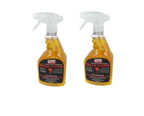 2 bottles of Belle clean concrete dissolver on a white background