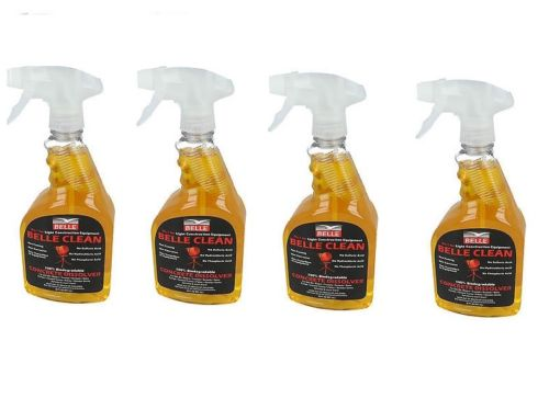 4 bottles of Belle clean concrete dissolver on a white background