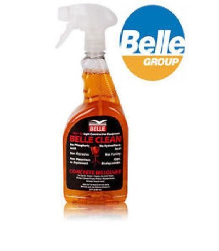 Single bottle of Belle clean concrete dissolver with Belle logo to the right on a white background