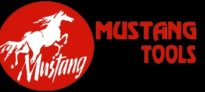 "White Mustang horse above white ""Mustang"" text in a red circle on black background with red ""Mustang Tools"" text to the right"
