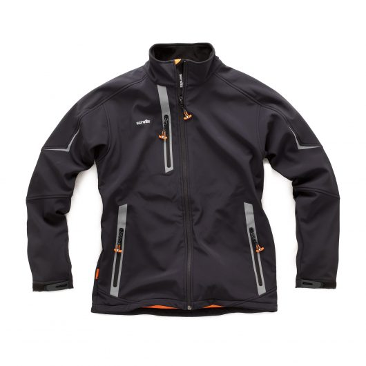 Black polyester Scruffs pro softshell with orange zips and contrasting grey reflective detailing around pockets and shoulders