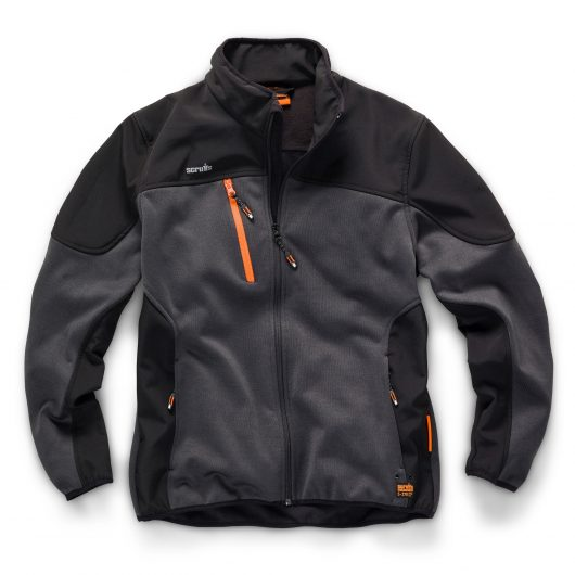 Scruffs trade tech softshell in graphite with orange chest pocket, orange zips and logo and grey scruffs logo on chest